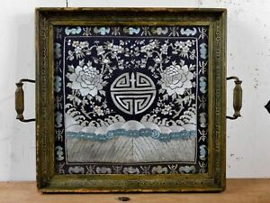 Antique Chinese Silk Embroidery Rank Badge Mandarin Square Framed In Wood Tray