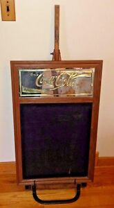 Rare Coca cola Vintage Chalkboard Menu Wood Sign Wooden Wheeled Easel