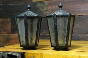 2 Arts Crafts Metal Glass Porch Lights Sconce Gothic Mission Globes Vintage Pair
