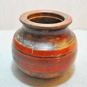 Original Old Antique Hand Carved Lacquer Painted Wooden Water Drinking Pot Lota