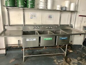 Steel Commercial Compartment Sink With Two 18 Drainboards W Overhead Shelve