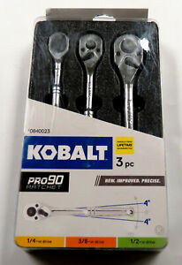 Kobalt 3 Piece 1 2 In 3 8 In 1 4 In Drive Quick Release Ratchet Set Steel