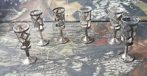 Vintage Sterling Silver Overlay Aperitif Cordial Glasses 5pc Set Hallmark 925 Ct