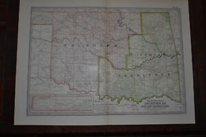 Antique 1901 Map Of Oklahoma Territory Indian Territory