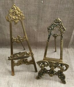 Vintage Art Nouveau Easel Brass Painting 2 Photo Frames Display Table Top Stands