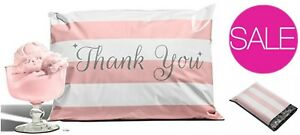 100 pack Bubble Gum Pink Thank You Poly Mailers 10 x13 Envelopes Mail Bags