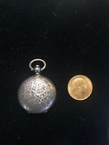 Antique Sterling Silver 1906 Edwardian Sovereign Coin Holder Case Fob Birmingham