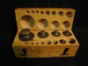 Antique August Sauter Weight Scale Set In Original Wood Box Some Missing