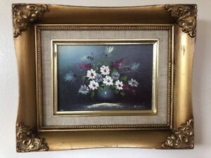 Canvas Painting In Ornate Wood Gilded Shadow Box Picture Frame