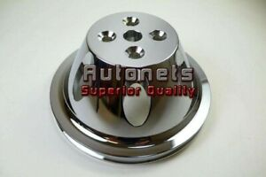 Chrome Billet Aluminum Sbc Small Block Chevy Short Water Pump Pulley 1groove Swp