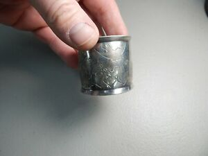 Vintage 1 7 8 Silver Plate Birds Butterfly S Napkin Ring Holder