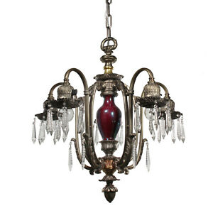 Antique Neoclassical Chandelier By Empire Pewter Nc2938