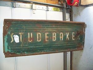 Vintage Studebaker Pickup Truck Tailgate Old Green Paint