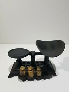Vintage Antique Cast Iron Toy Small Balance Scale 3 Weights Salesman Sample Toy
