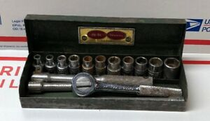 S k Tools 1 4 Drive 15 Pc Socket Ratchet Set In Metal Box Made In Usa