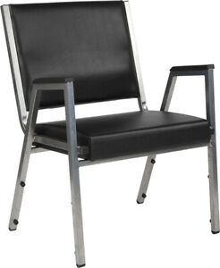 Antimicrobial Black Vinyl Reception Office Side Chair Waiting Room Chair