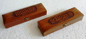 Old Unique Design Wooden Box Hand Carved Pencil Trinket Jewelry Box Lot Of 2
