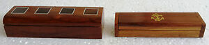 Rare Design Wooden Hand Crafted Brass Inlay Work Pencil Jewelry Box Lot Of 2