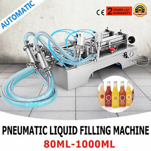 Two Heads Pneumatic Liquid Filling Machine 100 1000ml Silica Gel Juicer Shampoo