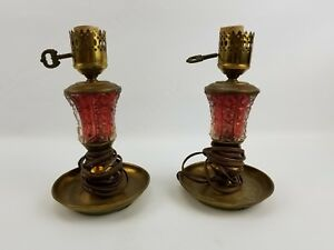 Vintage Set Of Two Candle Stick Style Table Lamp Brass Glass Metal