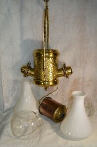 Antique Angel Lamp Co Brass Hanging Converted Oil Lamp For Repair