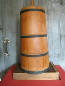 Antique Tall Stave Butter Churn Dasher Lid