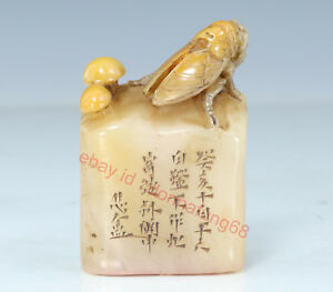 Chinese Exquisite Hand Carved Cicada Text Carving Shoushan Stone Seal