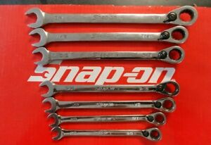Snap On Tools 7 Pc Sae Reversible Ratcheting Combination Wrench Set Soexr707