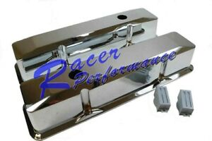 Small Block Chevy Tall Chrome Aluminum Recessed Valve Cover 283 305 350 383 Sbc