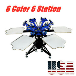 6 Color 6 Station Manual Screen Printing Machine Screen Printing Equipment
