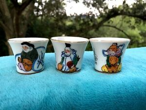 Antique Japan Japanese Set Of 3 Sake Cups Kimono Samurai Hawk Kanji Guinom Meiji