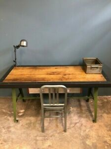 Urban Industrial Desk Set Vintage Cast Legs Reclaimed Bowling Alley Top