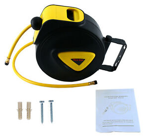 Air Hose Reel With Retractable 33 Hose Wall Mountable Swivel Bracket Tool