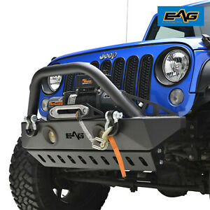 Eag Stubby Front Bumper With Skid Plate For 2007 2018 Jeep Wrangler Jk