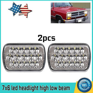 Universal 7 X6 Diamond Cut Led Projector Head Lights Lamps Clear For Dodge Gmc