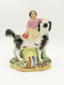 Victorian Staffordshire Figurine Girl And Her Dog 1800s