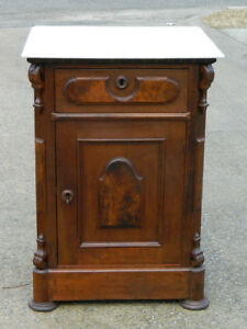 Walnut Victorian Half Commode Washstand Marble Top Circa 1865