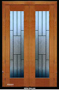 1 Set Leaded Glass Tradition Solid Wood Interior Door