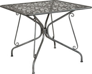 35 25 Square Antique Silver Steel Patio Restaurant Table Outdoor Bistro Table