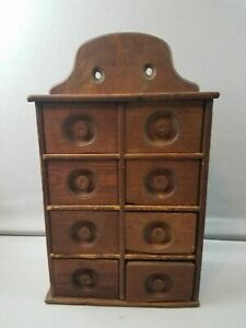 Wonderful Early Antique Primitive Wood 8 Drawer Spice Cabinet Eastern Shore Usa