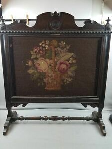 Fine Antique Victorian Kittinger Mahogany Needlepoint Floral Fireplace Screen