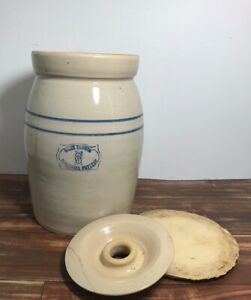 Marshall Pottery 3 Gallon Stoneware Antique Vintage Butter Churn Crock Lid Damag