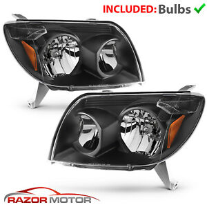 Headlights Headlamps For 2003 2004 2005 Toyota 4 Runner Black Factory Oe Style