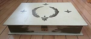 Large Wooden Hand Painted Wooden Box With Hinged Lid