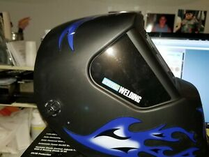 Chicago Electric Welding Auto Darkening Lens Helmet With Blue Flame Design