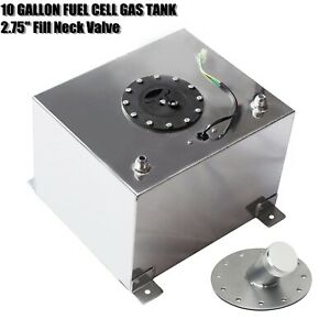 10 Gallon Aluminum Fuel Cell Gas Tank level Sender Kit W 2 75 Fill Neck Valve
