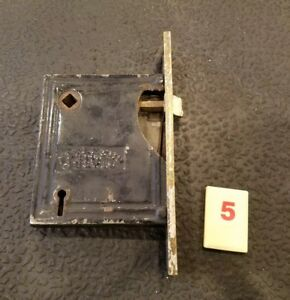 Vtg R E Co Mortise Door Lock Skeleton Key Deadbolt Brass Faceplate R5