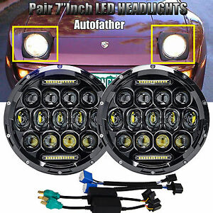Fit For Porsche 944 7 Inch Round Led Headlights Bulb Chrome Lamp Hi Lo Beam Dot