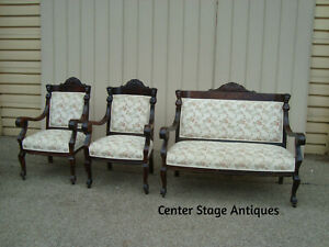 59279 Antique Empire Mahogany Figural Sofa Loveseat W 2 Chair S Quality