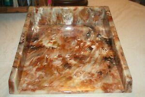 Cultured Onyx Letter Tray Vtg Desk Accessory Stone Composite